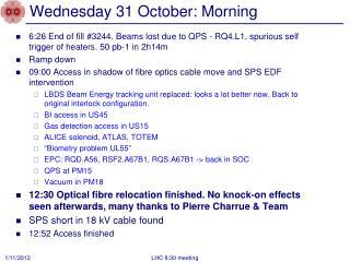 Wednesday 31 October: Morning