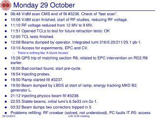 Monday 29 October