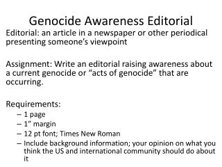 Genocide Awareness Editorial