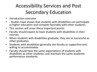 Accessibility Services and Post Secondary Education