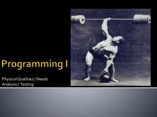 Programming I