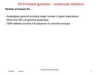V5 Forward genetics   molecular markers