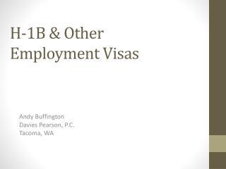 H-1B & Other Employment Visas