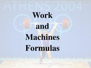 Work and Machines Formulas
