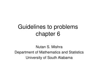 Guidelines to problems chapter 6