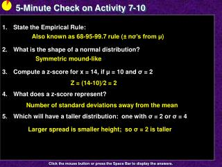 5-Minute Check on Activity  7-10