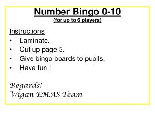 Number Bingo 0-10  (for up to 6 players)