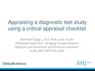 Appraising a diagnostic test study using a critical appraisal checklist
