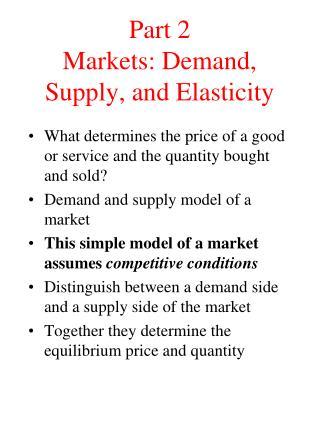 Part 2 Markets: Demand, Supply, and Elasticity