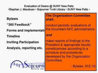 "Bylaws ""360 Feedback"" Forms and implementation Timeline Inviting Participation"