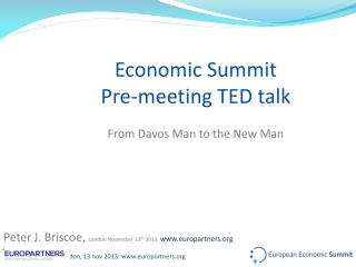 Economic Summit Pre-meeting TED talk