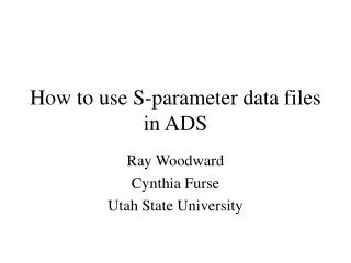 How to use S-parameter data files in ADS