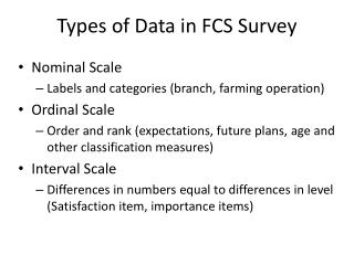Types of Data in FCS Survey