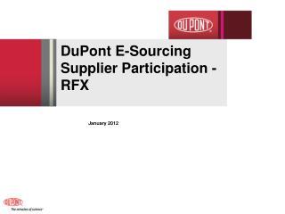 DuPont E-Sourcing  Supplier Participation - RFX