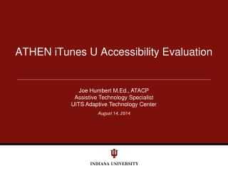 ATHEN iTunes U Accessibility Evaluation