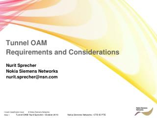 Tunnel OAM  Requirements and Considerations