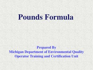 Pounds Formula