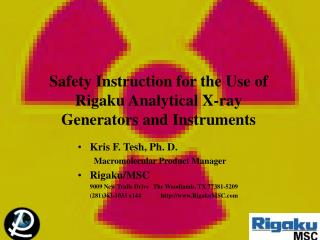 Safety Instruction for the Use of Rigaku Analytical X-ray Generators and Instruments