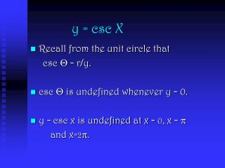 y = csc X