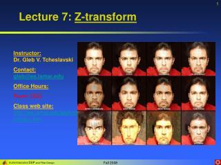 Lecture 7:  Z-transform