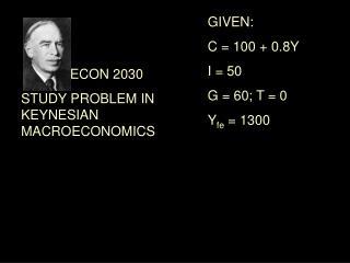 ECON 2030 STUDY PROBLEM IN KEYNESIAN MACROECONOMICS