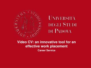 Video CV: an innovative tool for an effective work placement Career Service