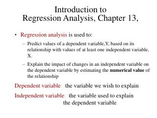 Introduction to  Regression Analysis, Chapter 13,