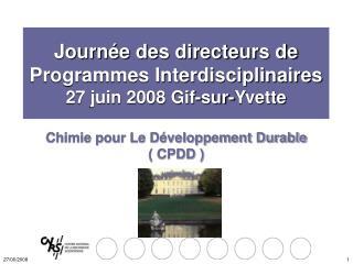 Chimie pour Le D veloppement Durable   CPDD