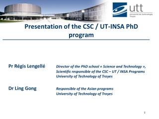 Presentation of the CSC / UT-INSA PhD program