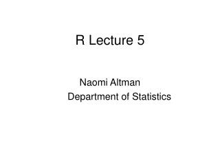 R Lecture 5