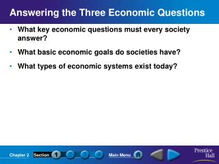 Answering the Three Economic Questions