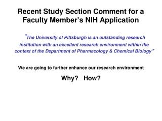 Recent Study Section Comment for a Faculty Member ' s NIH Application