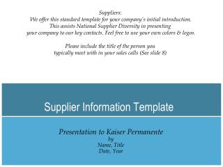 Supplier Information Template