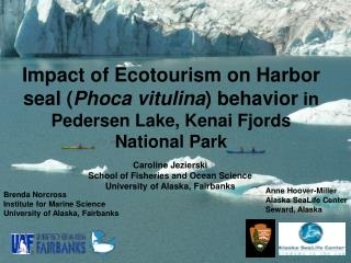 Impact of Ecotourism on Harbor seal Phoca vitulina behavior in Pedersen Lake, Kenai Fjords National Park