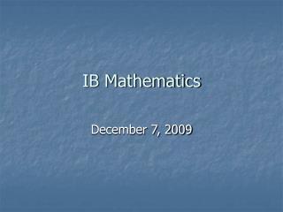 IB Mathematics