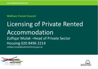 Licensing of Private Rented Accommodation