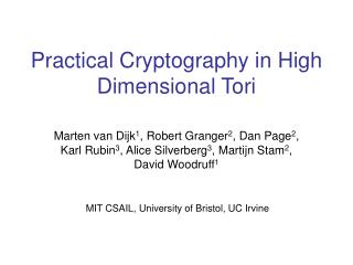 Practical Cryptography in High Dimensional Tori