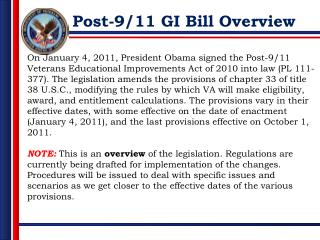 Post-9/11 GI Bill Overview