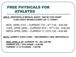 FREE PHYSICALS FOR  	   			ATHLETES