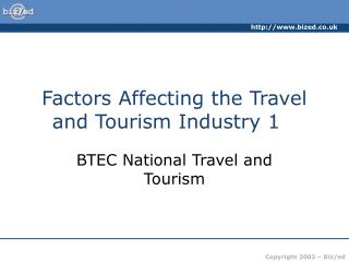 Factors Affecting the Travel and Tourism Industry 1