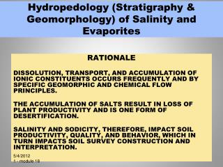 Hydropedology (Stratigraphy & Geomorphology) of Salinity and Evaporites