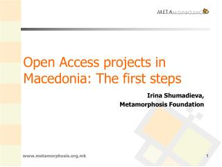 Open Access projects in Macedonia: The first steps