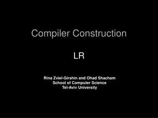 Compiler Construction LR