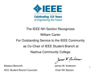 The IEEE NH Section Recognizes William Carter For Outstanding Service to the IEEE Community