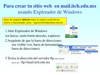 Para crear tu sitio web  en mail.itch.mx  usando Explorador de Windows