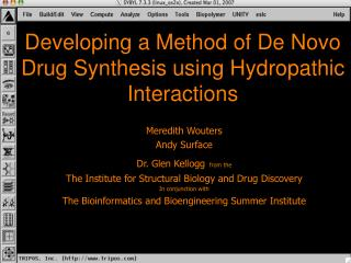 Developing a Method of De Novo Drug Synthesis using Hydropathic Interactions