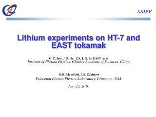 Lithium experiments on HT-7 and EAST tokamak G. Z. Zuo, J. S. Hu,  Z.S, J. G. Li, EAST team