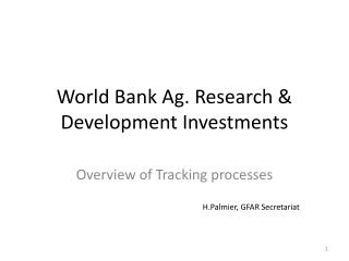 World Bank Ag. Research & Development Investments