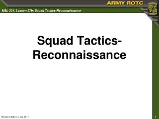 Squad Tactics-Reconnaissance