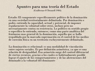 Apuntes para una teoría del Estado   (Guillermo O´Donnell 1984)